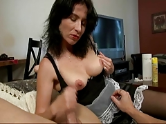 Maid Gives A Handjob And Gets Blasted With Huge Cum Blast