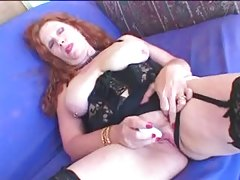 Redhead Granny In Stockings Gets A Facial