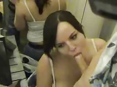 German semi amateur gives blowjob in changing room