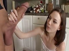 Tiny Andrea Anderson with a Huge White Monster Cock