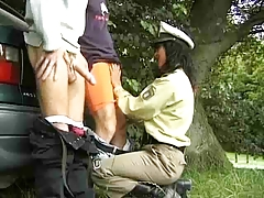 Hairy Milf Policewoman Fuck Drivers Off The Road