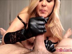 Sexy Milf Julia Ann Gives Handjob With Latex Gloves!
