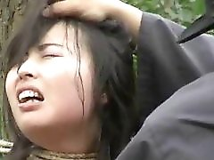 Chinese Army Girl Tied To Tree 1