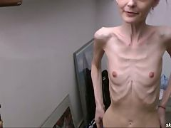 Skinny Brunette Posing Topless