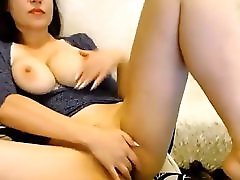 Young Brunette With Juicy Big Natural Tits Fingers Her Sweet Blossom