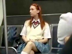 Redhead Girl Bus Seduction