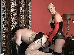 Slave Strapon Fucked By Blond Domina In Latex Corset And Boots
