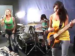 Girls Fuck A Rock Band At Their Rehearsal Enjoy