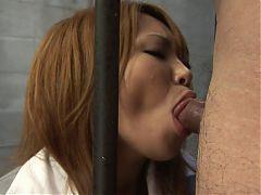 Prisoner Beauty Sucks The Guyard's Dick In Her Cell