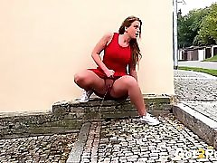 Got2pee Hot Thick Blonde In Red Dress Public Piss 2