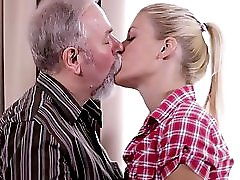 Sexy Blonde Fucked Her Boyfriend S Old Uncle While Waiting For Him