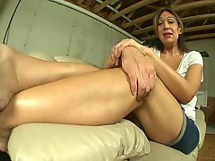 Mature Wrinkled Feet In Flip Flops