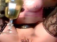 Pierced Blonde With Lots Of Piercings Metal In Her Pussy