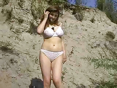 Young Busty Hot Strip Outdoors