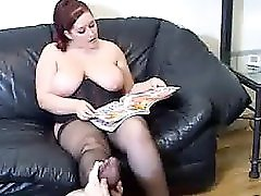 Worshipping Chubby Big Titted Mistress Pantyhosed Feet