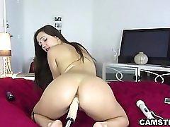 Big Butt Latina Orgasms W Machine & Hitachi