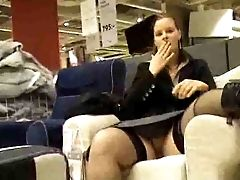 Horny Ex Girlfriend Flashing And Rubbing Her Big Hairy Pussy In Ikea