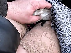 Flashing And Touching Her Stockings Tops In A Bus