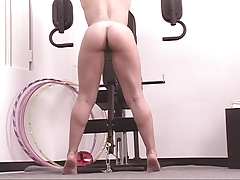 Slut Works Her Pussy Out With A Dildo In The Gym