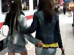 Lesbian friends go wild in public