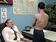 Old Boss At Desk Job Getting A Blow Job