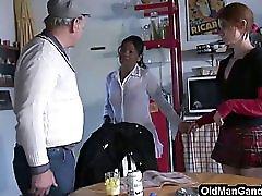 Voyeur Grandpa Joins Group Sex