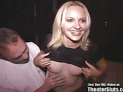 Smiley Blonde Bitch Gang Fucked In Porno Theater!