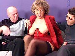 German Houswife Enjoying 2 Hard Cocks