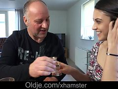 Nasty Brunette Teen Play Domination With Old Italian Man