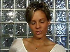 Cute Brunette In Short Cut Hair Strips On Cam