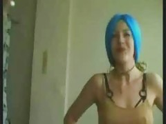Neon Blue Haired Girl Anal Fucked Enjoy