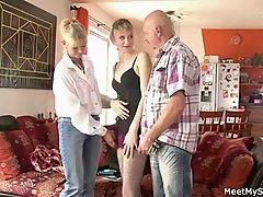 Old Mom And Dad Seduce And Bang Son's Gf