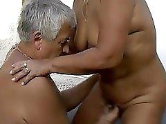 Grandpa And Guy Fucking Chubby Grandma Outdoors
