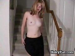 Girl Masturbates On The Stairs