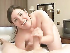 Chubby Babe Is Mean When Jerking Cocks