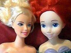 Barbie And Ariel Dolls Take A Huge Facial Cumshot