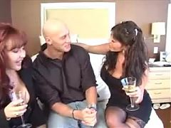 Two Horny Milf's In Stockings Seduce A Stud In Fucking Them