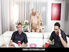 Familystrokes Teens Fucks Pervy Uncle During Superbowl